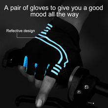 Reflective Half Finger Cycling Gloves Summer Sports Shockproof Bike Gloves GEL MTB Bicycle Gloves Fitness Gloves