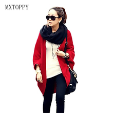 2017 New Women Autumn Winter Loose Shawl Batwing Sleeves Cape Lady Knit Sweater Coat Woolen Female Cardigans Red/Black Free Size