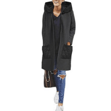Fashion Lady Long Sleeve Hooded Coat Patchwork Zipper Pockets Open Front Jacket Female Winter Warm Casual Leisure Office Outwear(China)