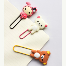 P35 1PC Kawaii Cute Rilakkuma Rabbit Silicone Paper Clip Bookmarks Book Marker of Page Student Stationery School Office Supply