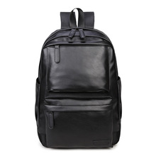 men multifunctional PU leather backpack boyfrieng'gift fashion male Schoolbag black travel  waterproof rucksack