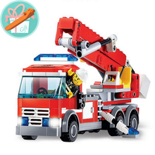 Wholesale Price!!! 244Pcs Fire Fighting Truck Building Blocks Fire-Fighting Truntable Ladder Early Educational Toys+With Gift