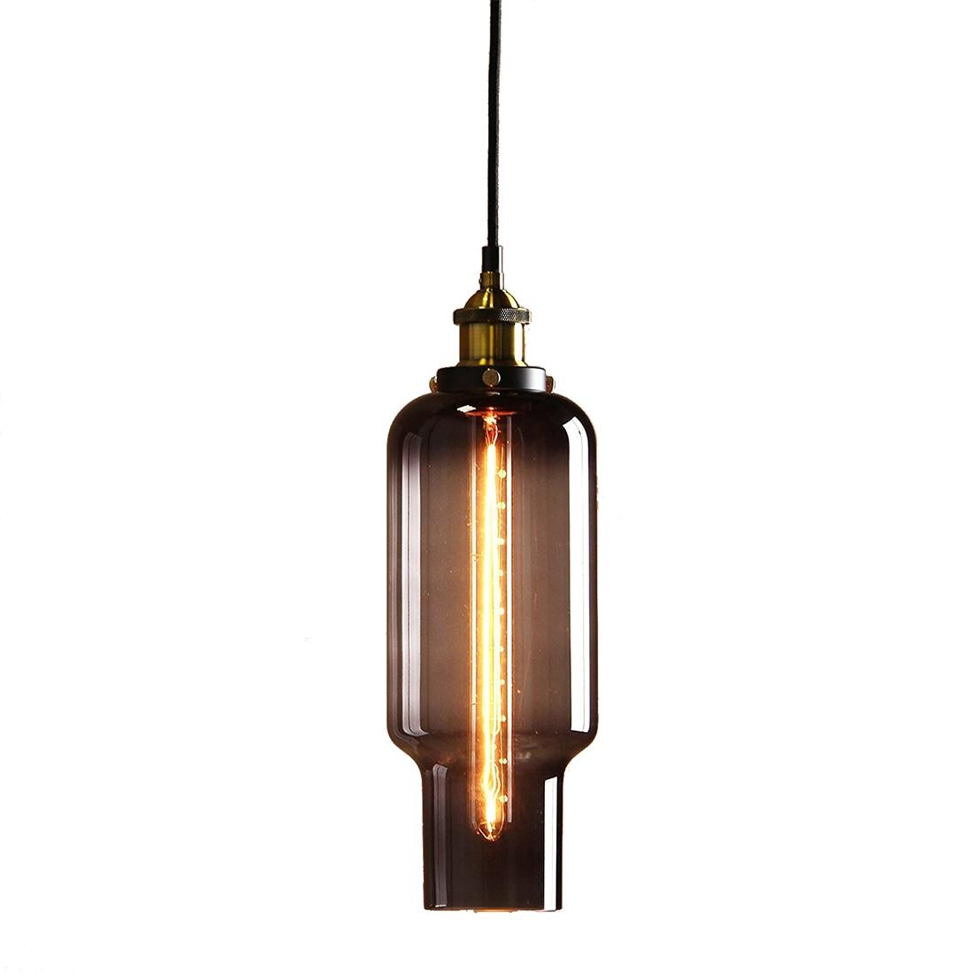 Vintage Industrial Metal Finish Black Gray Glass Shade Loft Pendant Lamp Retro (diameter 14cm Whistle glass shade Brass head)<br>