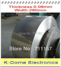 0.08mm Thickness 280mm Width 5M/lot Stainless Steel Sheet Plate Leaf Spring Stainless Steel Foil The Thin Tape Free Shipping(China)