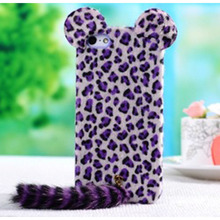 For iphone 4S mobile phone case Plush leopard phone shell fox tail protective cover for iphone4 4s 5 5s 6 6s 6plus 6splus