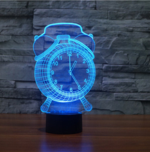 New Retro Fasion Alarm Clock Decor 3D USB LED Lamp 7 Colors Changing Touch Lamp Holder Converter LED Bulb Desk Table Night Light