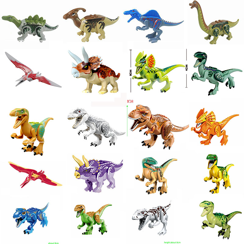 Single Sale Dinosaurs Figures Blocks locking Jurassic Park Dinosaurs Building Assemble Block Funny Kid Toys For Children locking