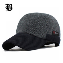 [FLB] Warm Winter Thickened Baseball Cap With Ears Men'S Cotton Hat Snapback Winter Hats Ear Flaps For Men Women Hat Wholesale(China)