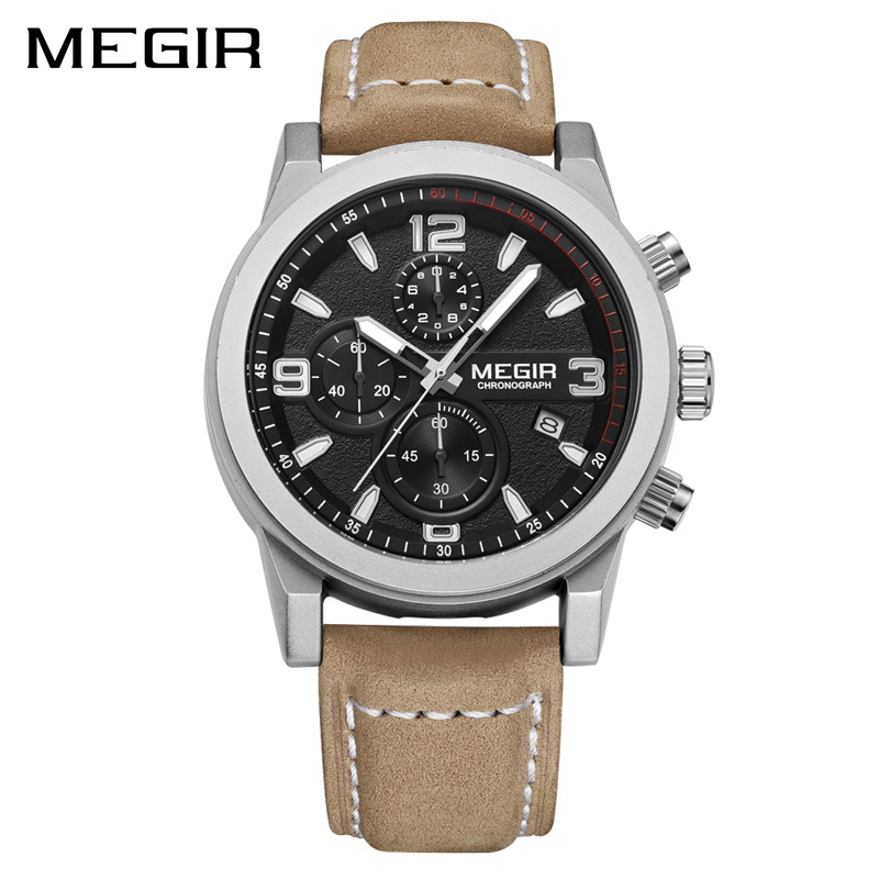 MEGIR Fashion Sport Watch Luxury Brand Leather Band Men Quartz Watches Chronogragph Clock Men Army Military Wrist Watch 2026<br>