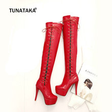 Plus Size 43 Kobiety Sexy Patent Leather Over The Knee Boots platforma Zipper Lace Up Moda Buty Damskie Buty Black Red White(China)