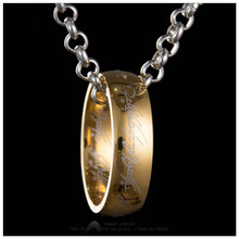 Buy 2017 New Hobbit Letter Lord One Rings Men Black Gold Silver Titanium 316L Stainless Steel Ring Movie Pendant Chain 3Color for $1.32 in AliExpress store