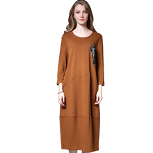 plus-size long dress 3/4 sleeve loose dress casual dress women's high-waist solid Large size ladies' dresses xL to 4XL(China)
