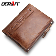 OGRAFF Purse Genuine Leather Men Wallets Clutch Male Clutch Bag Coin Purse Card Holder For Men Portfolio Perse Small Mini Wallet