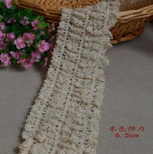 1 Meter High Quality Beige Mesh Crocheted Elastic Lace Ribbons Wide Cotton Embroidery Applique Lace Trim