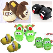 Super Mario Brothers Green Yoshi Donkey Kong Plush Indoor Slippers Adults Women Men Autumn Winter Home Slippers SA1580(China)