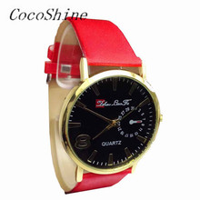 CocoShine A-666 Fashion Unisex Casual Fashion Faux Leather Strap Quartz Analog Wrist Watch!Support wholesale wholesale(China)