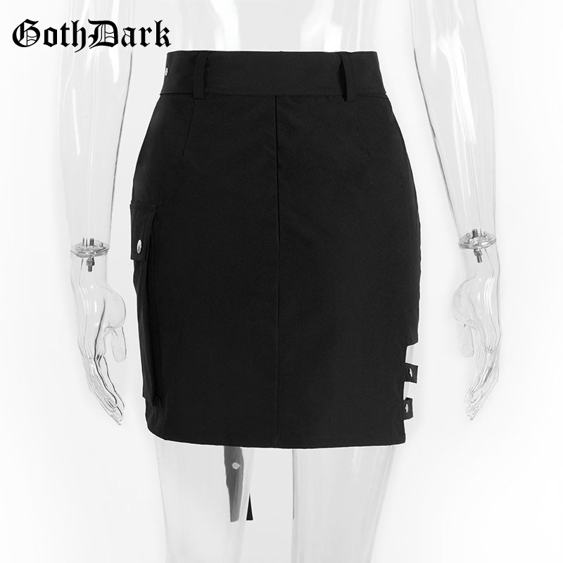 Goth Dark Solid Black Patchwork Hollow Out Skirts For Women Gothic Summer 19 Hole Grunge Eyelet Zipper Skirt Fashion Punk 3