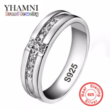 Real Pure Silver Cross Rings Set CZ Diamant Engagement Rings for Lovers Couple 925 Silver Wedding Rings For Women and Men AR11(China)