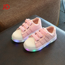 JD New Fashion Children Shoes With Light Led Kids Shoes Luminous Glowing Sneakers Baby Toddler Boys Girls Shoes LED EU 21-36(China)