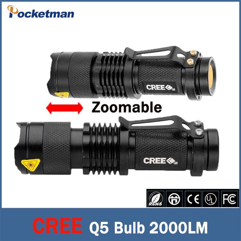 Free shipping 2000 Lumen Zoomable CREE XM-L Q5 LED Flashlight Torch Zoom Lamp Light linternas Black<br><br>Aliexpress
