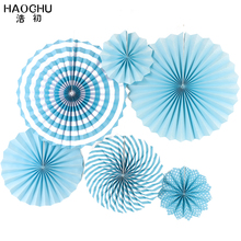 HAOCHU 6pcs/set Wedding Favors Sky Blue Tissue Paper Hand Fans for Christmas Backdrops Baptism Festa Decoration Baby House Decor(China)