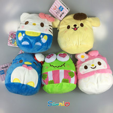 "Free Shipping EMS 100/Lot New Sanrio Melody Rabbit,Frog Keroppi,Pudding Dog,Hello Kitty Plush Coin bag Keychain Toys 7"" Cute"
