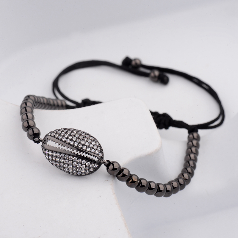 DOUVEI 17 New Black Diy Design Pave CZ Ball Charm Bracelet Men Women Braided Macrame Copper Beads Jewelry Gift For Men Women 10