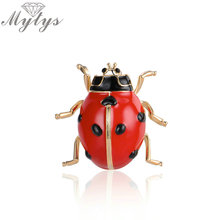 Mytys Red Ladybird Brooches for Kids and Girls Cute Insert Brooch Pins for Women Scarf Buckle Clips Clothing Accessory X284(China)