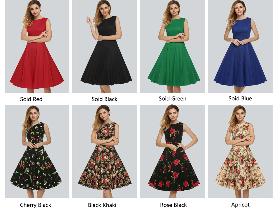 ACEVOG Women Dress Retro Vintage 1950s 60s Rockabilly Floral Swing Summer Dresses Elegant Bow-knot Tunic Vestidos Robe Oversize 6