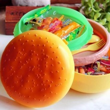 Cute Hamburger Double Tier Bento Lunchbox Burger Boxes Children Lunch Box Food Container Tableware Set with Fork for Kids