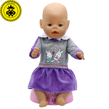 Zapf Baby Born Doll Clothes Red P Rabbit Purple Dress fit 43cm Doll Baby Born Doll Accessories Birthday Gift 293(China)