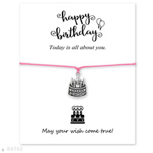 (10pcs/lot)Silver Birthday Cake Charm Bracelets & Bangles for Women Girls Adjustable Happy Birthday Statement Red with Card