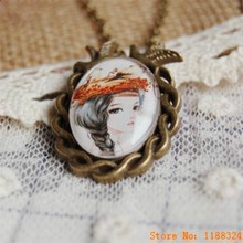 Handmade retro bronze Glass Jewel Hand Painted girl Long necklaces & pendants for women 2015 girl vintage jewelry Accessories