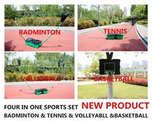 4 In 1  portable recreational play set volleyball badminton tennis net stand plus basket ball stand portable sports game set