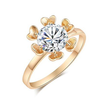 NEW gold ring sunflower ring AAA Azorite Ring Fashion lovers ring for women Jewelry