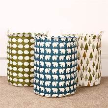 Lovely Foldable Cotton Linen Washing Clothes Storage Cleaning Laundry Basket Toy box Hamper Storage New
