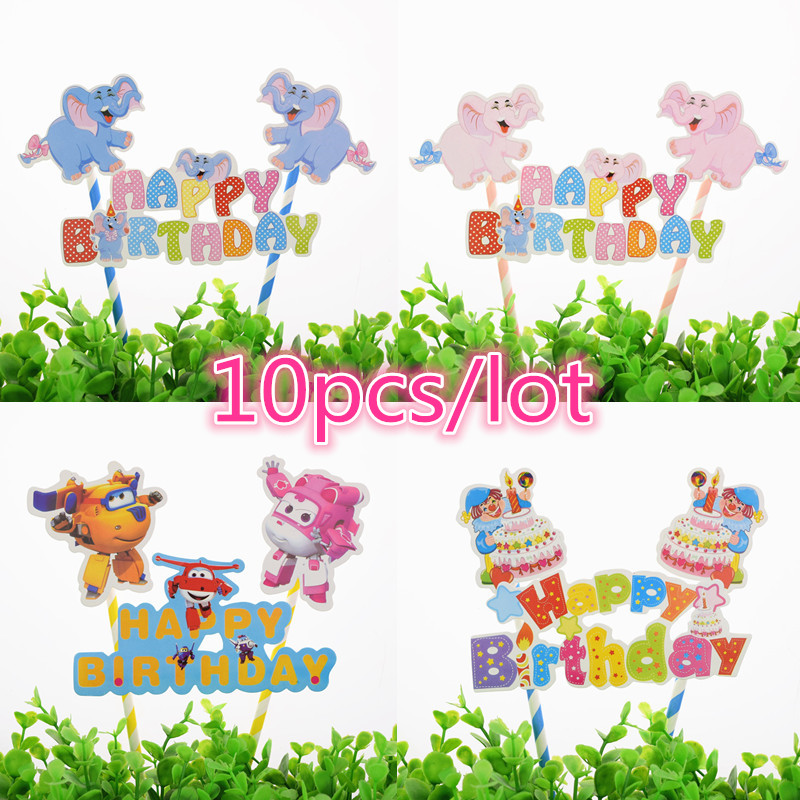 10pcs/lot Giraffe Elephant Lion Zoo Happy Birthday Cake Flag Crown Baby Shower Cake Topper Birthday Party Cake Baking Decor