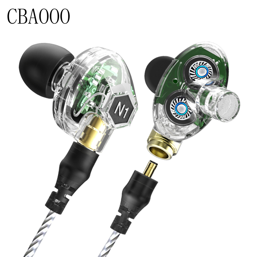 Sport HIFI earphone Original VJJB N1 headset with Wired Dual Driver earphone Bass Stereo headphone ear hook headset with MIC<br>