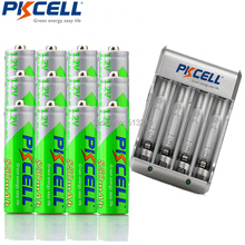 12Pieces PKCELL Cycles1200times Pre-charged NIMH 1.2V 850mAh AAA Rechargeable Battery and 4slot EU/US Plug Charger(China)
