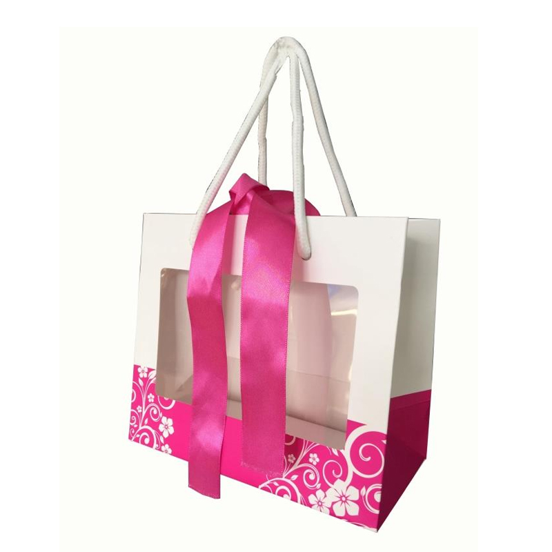 purple colro ribbon paper bag