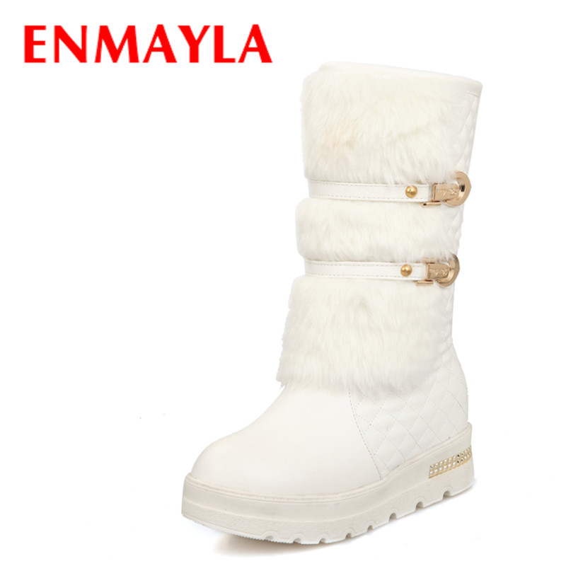 ENMAYLA New Winter Fashion Buckle Fur Boots Women Slip-on Flats Half Snow Boots White Black Metal Decoration Ladies Shoes<br>