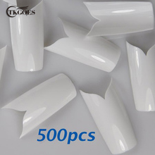 TKGOES 500PCS Beauty White V Shapes Fake False Acrylic Nail Tips Full False French Nail Tips NEW False Nail Art Tips Manicure