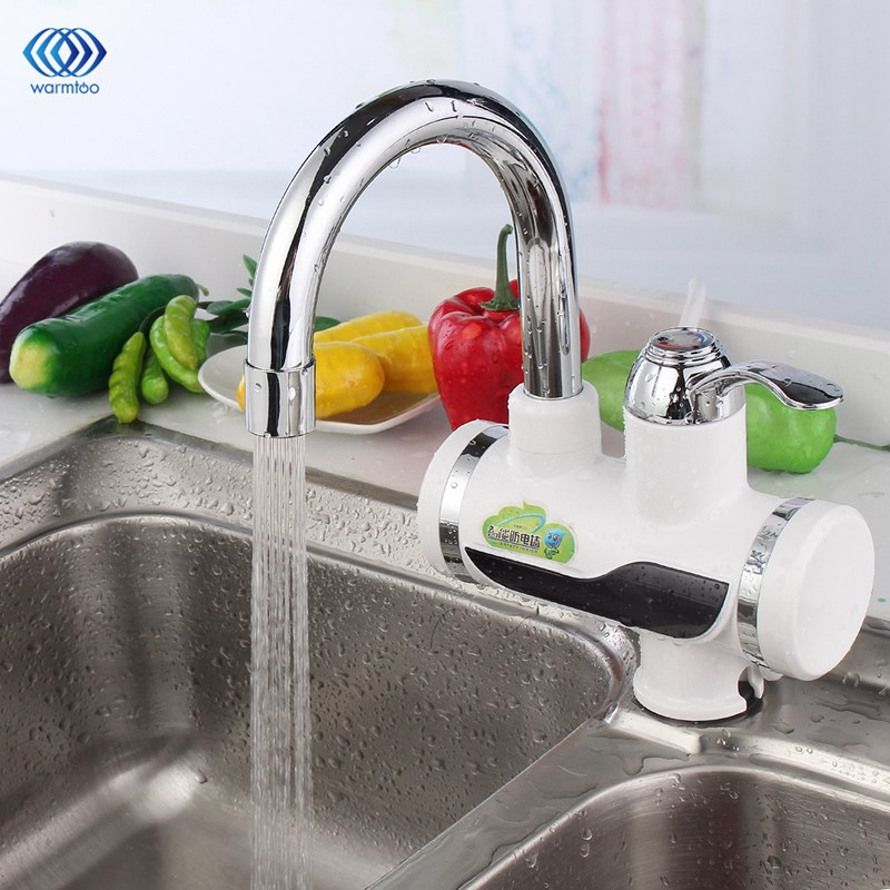 Household 220V 3000W Electric Water Heater LED Digital Kitchen Faucet Tap Instant Heating Kitchen AU Plug<br>