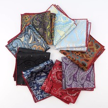 High Quality Hankerchief Polyester Scarves Vintage Fabric Of Business Suit Hankies Men's Pocket Square Handkerchiefs 23*23cm(China)
