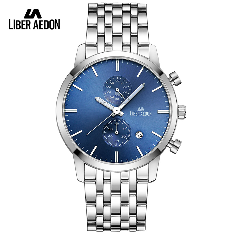 Liber Aedon Top Brand Luxury 2017 Sport Men Watches Waterproof Stainless Steel Band Quartz Mens Wristwatch Military Male Watch<br>