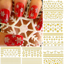 12 Sheets Lace Crown Cross Heart Stars Snowflake Nail Art Decals Water Transfer Stickers Decorations Z121-32# 4 Colors Availble
