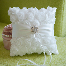 Beautiful Home Decoration White Wedding Lace Rose Buds Flower Ring Pillow Shape With Flash Diamond Romantic Pillow Cushion