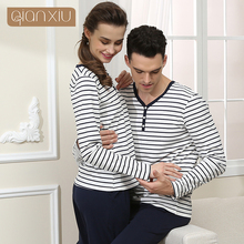 2017 Spring Qianxiu Brand Homewear Lovers Casual Pajama sets Men soft Cotton Sleepwear suit Male striped sleep top shirt + pants(China)