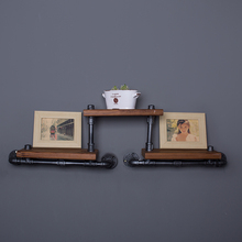 French Industrial Loft-style Wrought Iron Shelf Bookcase Shelf Wood Wall Wall Vintage Water Pipe Rack -FJ-ZN1Y-009A0