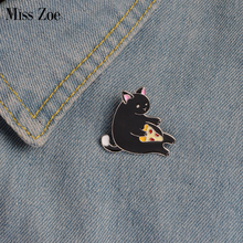 Miss Zoe Meow Meow Pizza Cat Luna Bathing Kitten Brooch Button Pins Denim Jacket Pin Badge Cartoon Animal Jewelry Gift for Kids